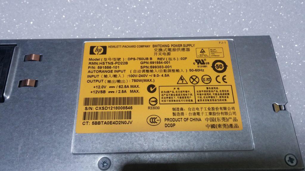 HP Proliant 750W Platinum Power Supply HSTNS-PD22B 591556-101 599383