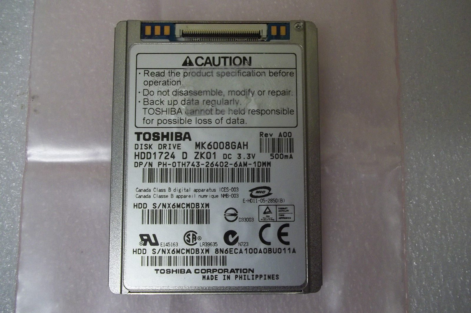 Dell TH743 Toshiba HDD1724 MK6008GAH 1 8
