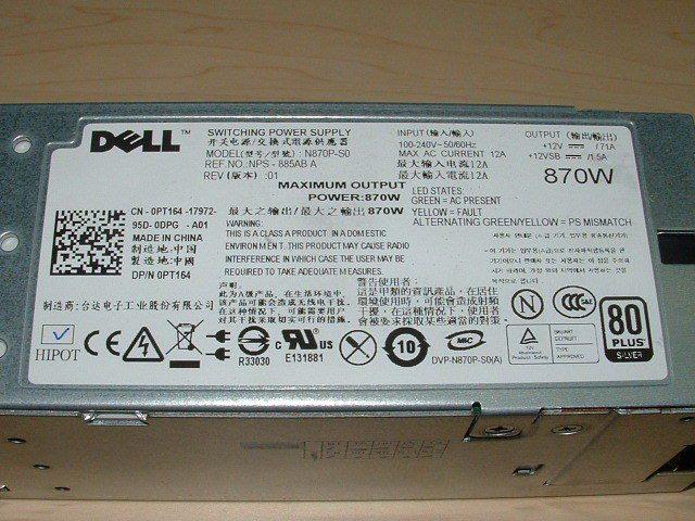Dell Poweredge R710 T610 870W Power Supply YFG1C