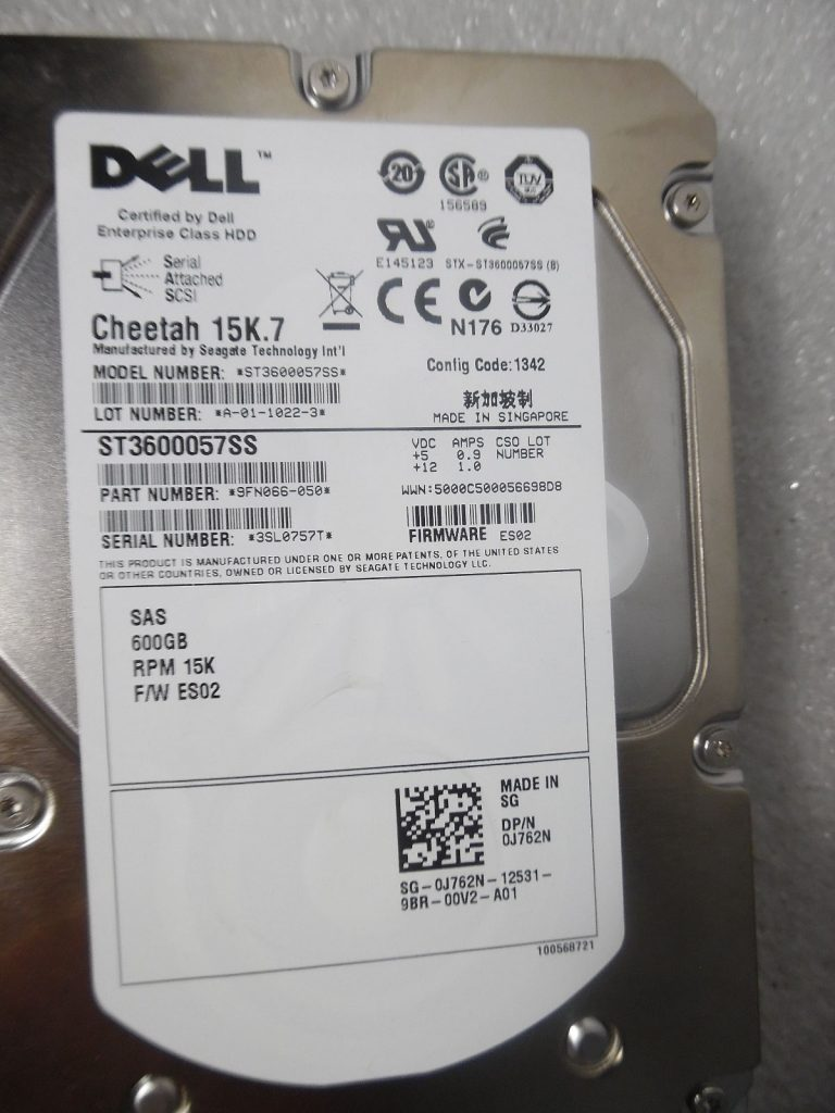 Dell Cheetah 15K 7 J762N // ST3600057SS 600GB 15K 6Gbps SAS Hard Drives