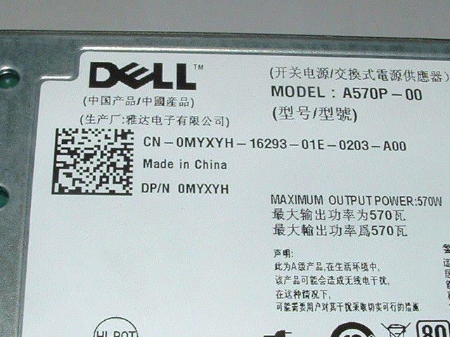 Lot of 2 ___ Dell Poweredge R710 T610 570W Power Supply MYXYH T327N VPR1M  RXCPH